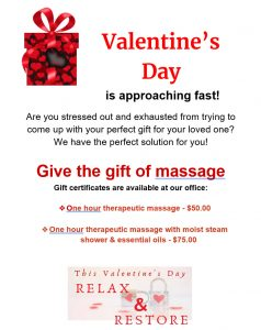 Shiepis Clinic- Valentine's Day Massage Special